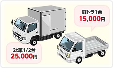 軽トラ1台15,000円。2t車1/2台25,000円。